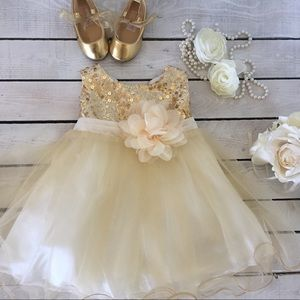 Other - Gold sequins and tulle baby dress